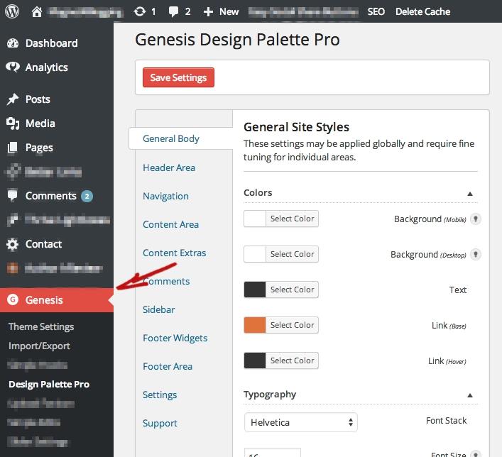 Genesis Design Palette Pro Dashboard