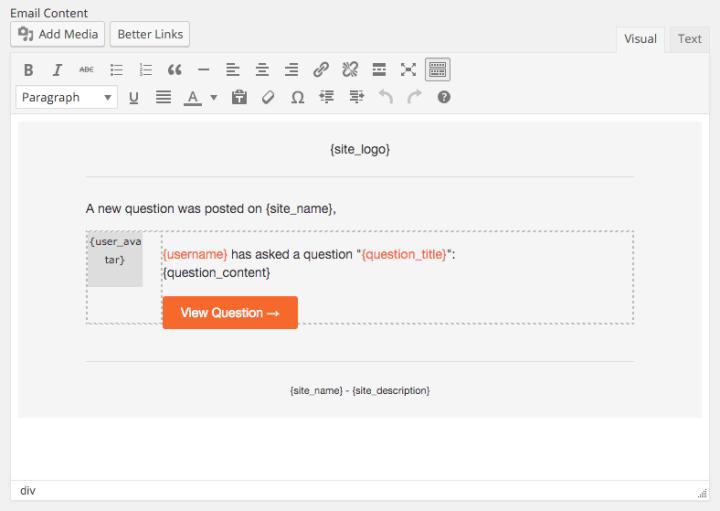 customise emails DQWA