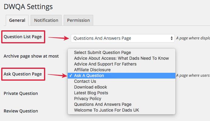 general settings page DWQA