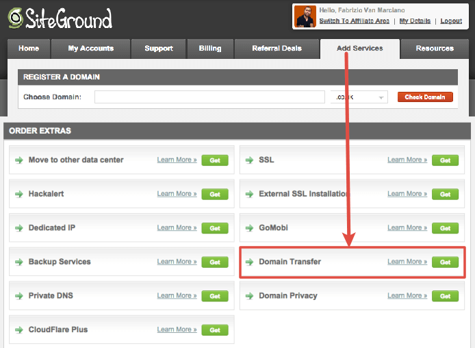 SiteGround Domain Transfer