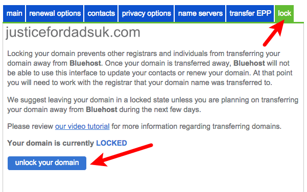 Unlock Domain Bluehost