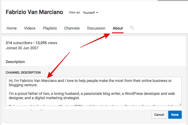 YouTube Profile