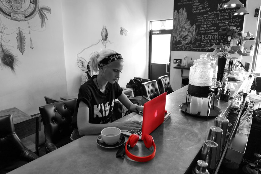 lady coffee laptop
